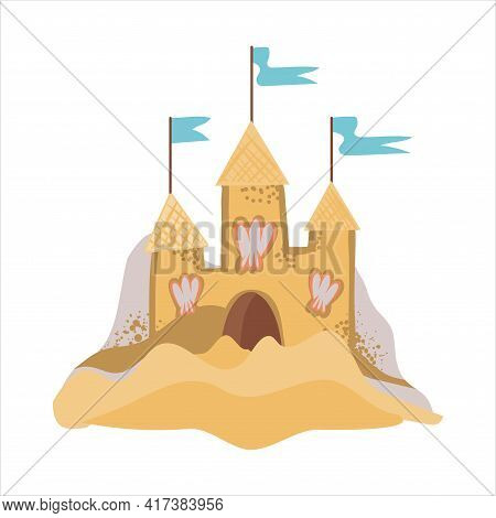 Vector Illustration Of A Sand Castle With Blue Flags. Vacation Symbol, Children S Vacation, Sand Con