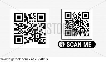 Abstract Qr Code Sample For Smartphone Scanning. Vector Illustration