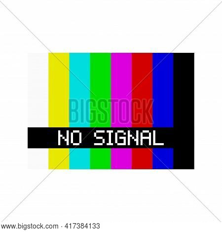 Old Tv No Signal Screen. No Signal Tv Test Pattern. Vector Illustration