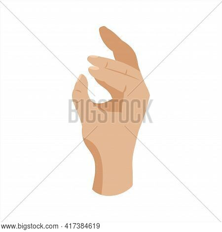 Hand In The Style Of A Flat Gesture Okay. Connecting Fingers Into A Ring. Approval, Realistic Hand O