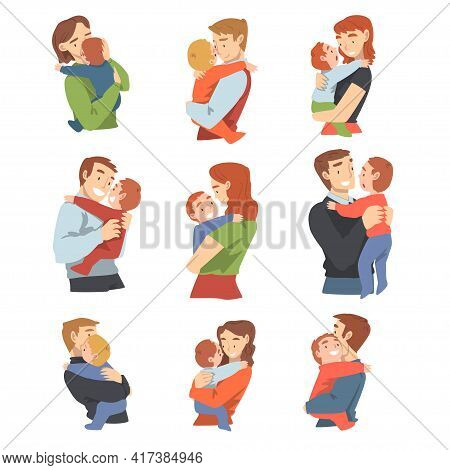 Parents Holding Their Babies Set, Happy Parenting And Kids Care Cartoon Vector Illustration
