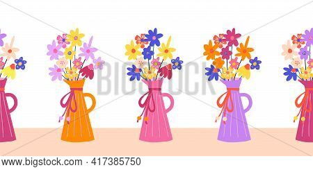 Flower Vase Seamless Vector Border. Repeating Horizontal Pattern With Colorful Flowers. Use For Moth