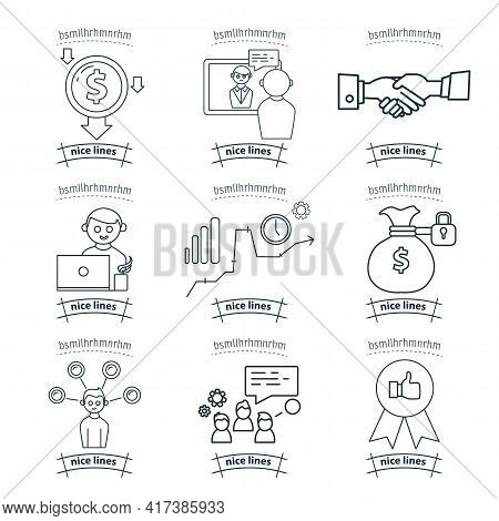 Outsourcing Icon Set With Freelancer, Agreement, Handshake, Distant Work
