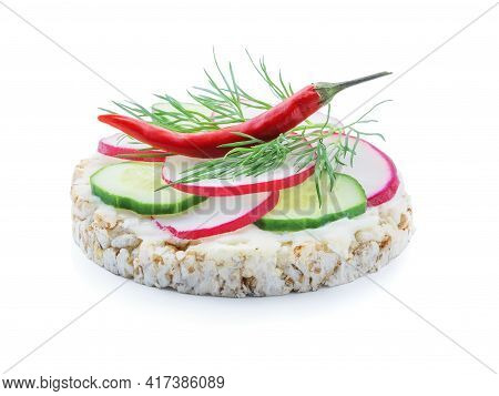 Diet Bread With Slices Of Radish Cucumber Tomato Red Pepper And Melted Cheese Isolated On White Back