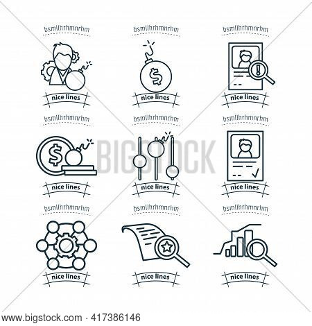 Business Line Icon Set With Risk Management, Risk Investment, Level Of Risk