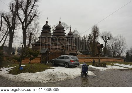 Ancient Wooden Church In The Museum Shevchenkivskyi Hai In The Fall. Museum Of Folk Architecture And