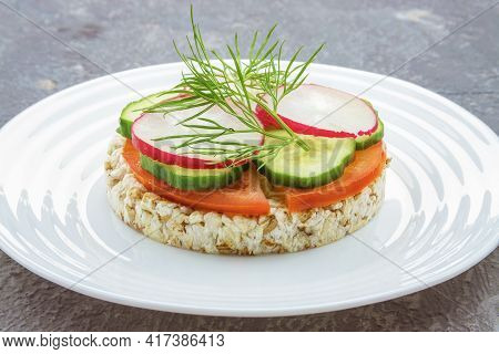 Diet Bread With Slices Of Tomato Radish Cucumber In Plate On Concrete Surface, The Concept Of Proper