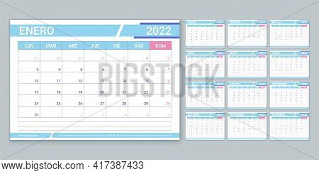 Spanish Calendar For 2022 Year. Planner Template. Vector. Week Starts Monday. Table Schedule Grid. C