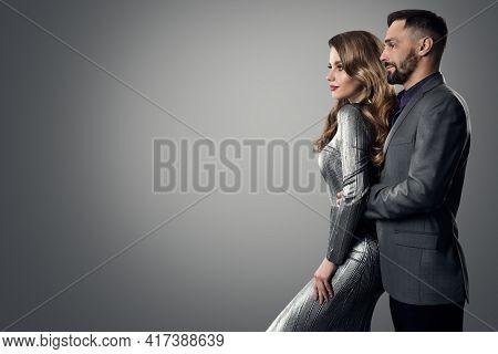 Fashion Stylish Man Woman Profile Side View. Bearded Man In Suit Holding Luxury Model. Elegant Lady