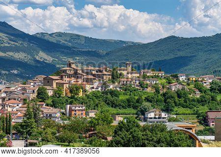 View Of Montereale Mountain Village Located In The Gran Sasso E Monti Della Laga National Park, Abru