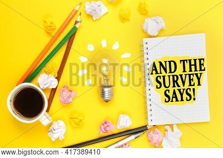 Business And Education Concept. On A Yellow Background, A Cup Of Coffee, A Light Bulb, Pencils, A No