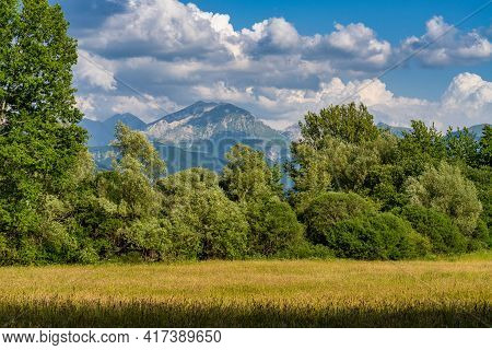 Landscape At Lake Of Campotosto In Abruzzo, Italy. A Huge Artificial Lake At 1400 Meters Above Sea L