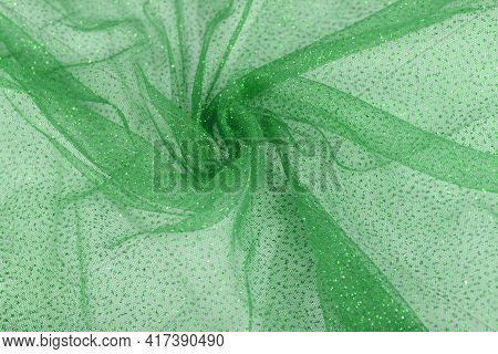 Green Crumpled Beautifully Draped Lace Festive Tulle Fabric
