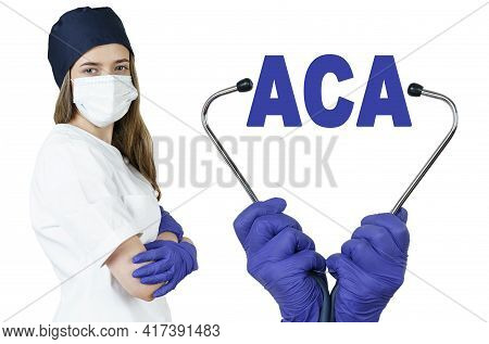 Health Care And Medicine Concept. The Doctor Is Holding A Stethoscope, In The Middle There Is A Text