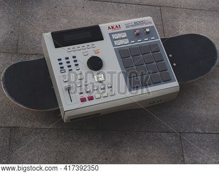 Moscow 18.04.2021 .akai Mpc Electronic Musical Instrument, Drum Machine For Creating Hip Hop Instrum