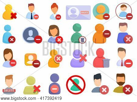 Delete User Icons Set. Cartoon Set Of Delete User Vector Icons For Web Design