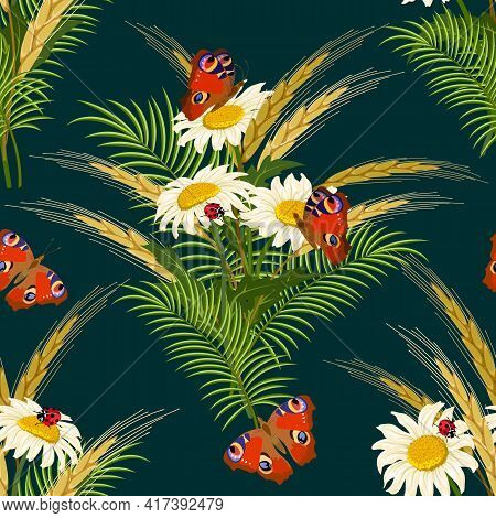 Pattern With Flowers And Spikelets.chamomiles, Spikelets And Butterflies On A Colored Background In
