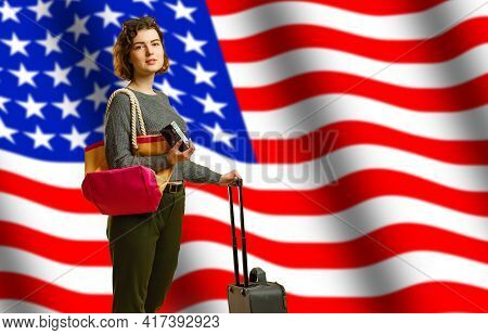 Girl Student Smiling, Holding Backpack And Usa Flag Isolated On Grey Background, Copy Space, Student