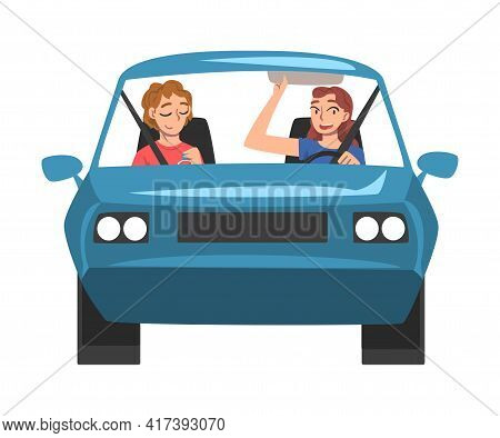 People Riding Blue Car, Front View Of Cheerful Girl Driver Driving Vehicle And Her Friend Sitting In