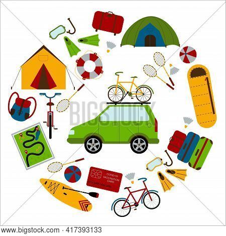 A Set Of Necessary Things To Travel By Car In A Round Frame. Backpack, Fins, Diving Mask, Lifebuoy,