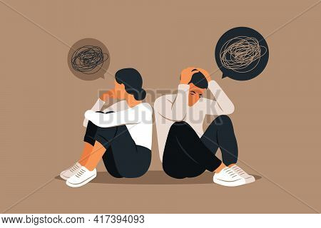 Man And A Woman In A Quarrel. Conflicts Between Husband And Wife. Two Characters Sitting Back To Bac