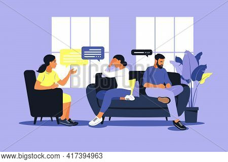 Family Therapy And Counselling. Woman Psychotherapist Support Couple With Psychological Problems. Fa