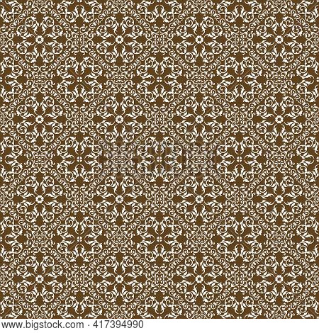 Pattern With A Complex Ornament On A Brown Background