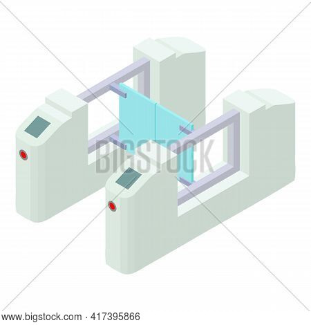 Railway Station Barrier Icon. Isometric Of Railway Station Barrier Vector Icon For Web Design Isolat
