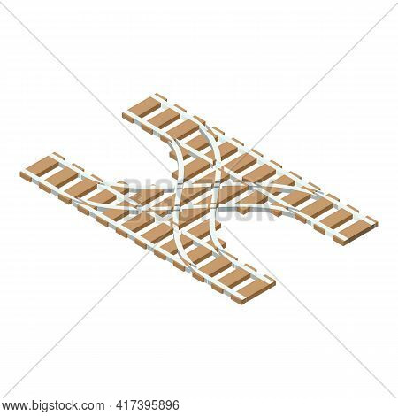 Railway Intersection Icon. Isometric Of Railway Intersection Vector Icon For Web Design Isolated On