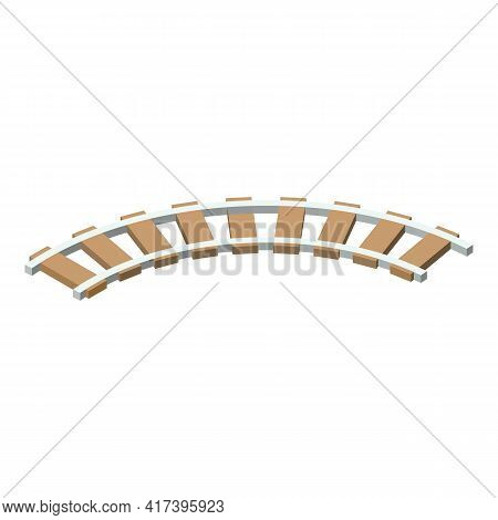 Railway Track Icon. Isometric Of Railway Track Vector Icon For Web Design Isolated On White Backgrou