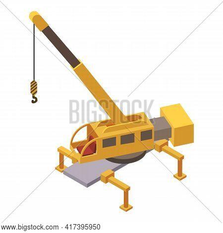 Railway Crane Icon. Isometric Of Railway Crane Vector Icon For Web Design Isolated On White Backgrou