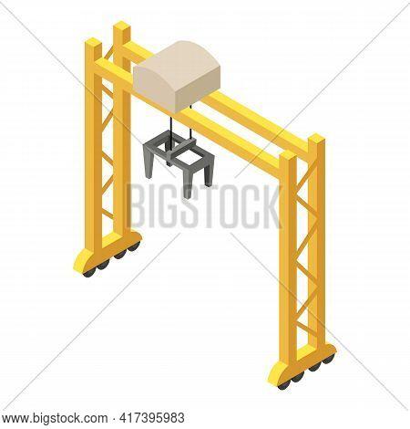 Railway Modern Crane Icon. Isometric Of Railway Modern Crane Vector Icon For Web Design Isolated On