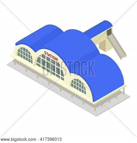 Modern Railway Station Icon. Isometric Of Modern Railway Station Vector Icon For Web Design Isolated
