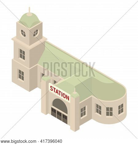 Express Railway Station Icon. Isometric Of Express Railway Station Vector Icon For Web Design Isolat