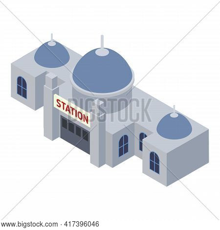 Architecture Railway Station Icon. Isometric Of Architecture Railway Station Vector Icon For Web Des