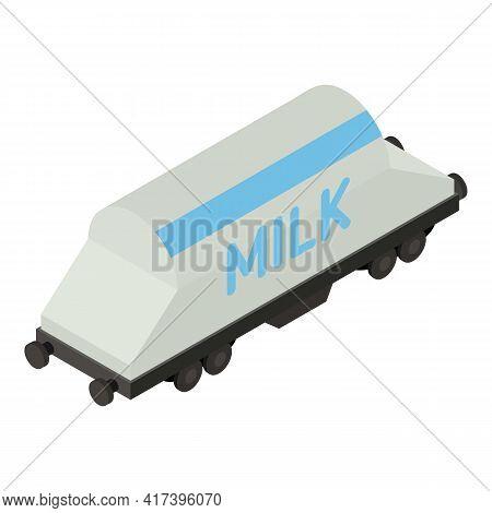 Milk Train Wagon Icon. Isometric Of Milk Train Wagon Vector Icon For Web Design Isolated On White Ba