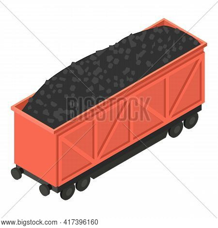 Coal Full Wagon Icon. Isometric Of Coal Full Wagon Vector Icon For Web Design Isolated On White Back