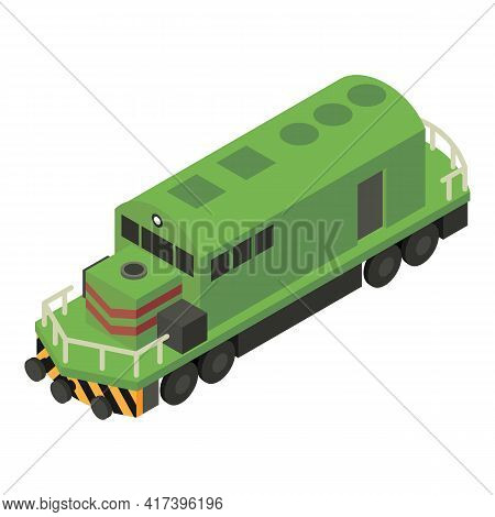 Green Diesel Train Icon. Isometric Of Green Diesel Train Vector Icon For Web Design Isolated On Whit