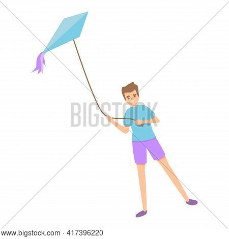 Boy Playing Kite Icon. Cartoon Of Boy Playing Kite Vector Icon For Web Design Isolated On White Back