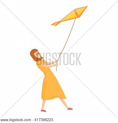 Woman Playing Kite Icon. Cartoon Of Woman Playing Kite Vector Icon For Web Design Isolated On White