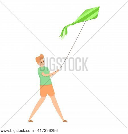 Outdoor Playing Kite Icon. Cartoon Of Outdoor Playing Kite Vector Icon For Web Design Isolated On Wh