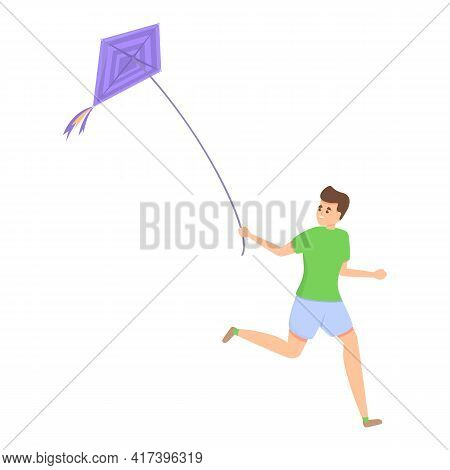 Childhood Playing Kite Icon. Cartoon Of Childhood Playing Kite Vector Icon For Web Design Isolated O