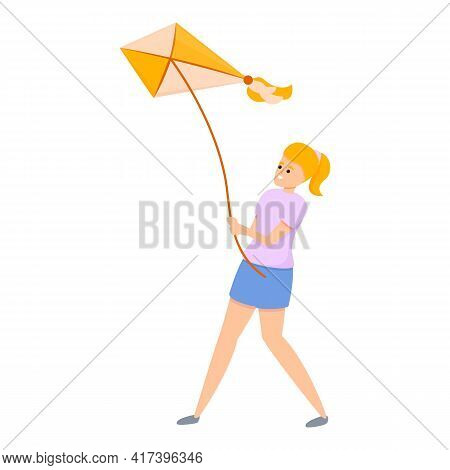 Wind Playing Kite Icon. Cartoon Of Wind Playing Kite Vector Icon For Web Design Isolated On White Ba