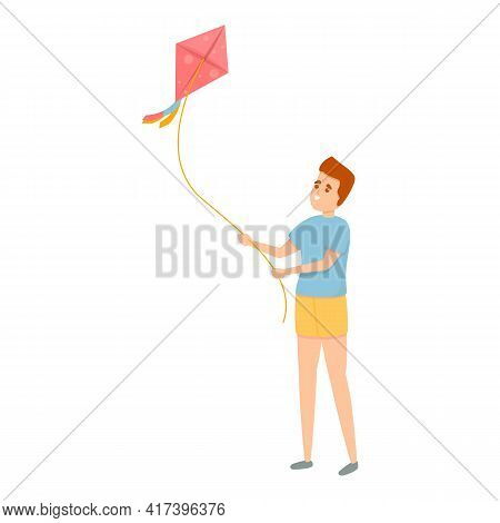 Fun Playing Kite Icon. Cartoon Of Fun Playing Kite Vector Icon For Web Design Isolated On White Back