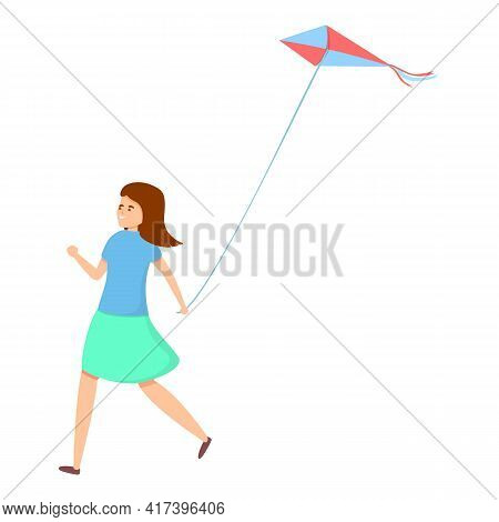 Cute Playing Kite Icon. Cartoon Of Cute Playing Kite Vector Icon For Web Design Isolated On White Ba