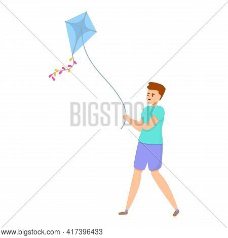 Freedom Playing Kite Icon. Cartoon Of Freedom Playing Kite Vector Icon For Web Design Isolated On Wh