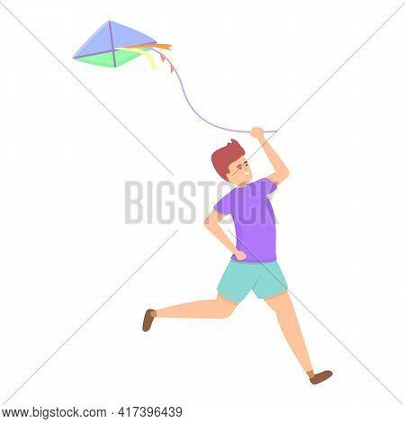 Enjoy Playing Kite Icon. Cartoon Of Enjoy Playing Kite Vector Icon For Web Design Isolated On White