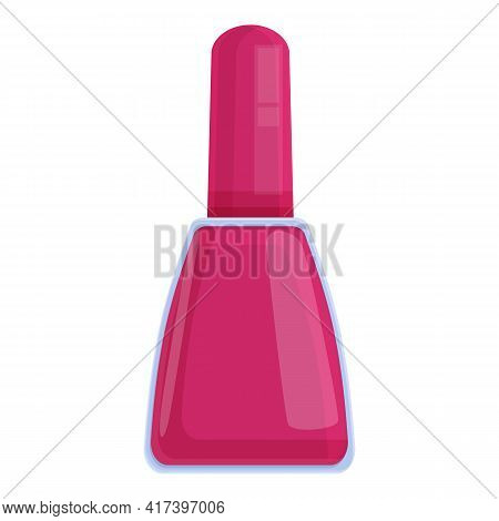Nail Polish Red Bottle Icon. Cartoon Of Nail Polish Red Bottle Vector Icon For Web Design Isolated O