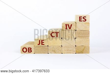 Objectives Symbol. Wooden Blocks Stacking As Step Stair On White Background, Copy Space. Word 'objec