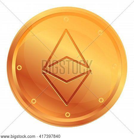 Ethereum Cryptocurrency Icon. Cartoon Of Ethereum Cryptocurrency Vector Icon For Web Design Isolated